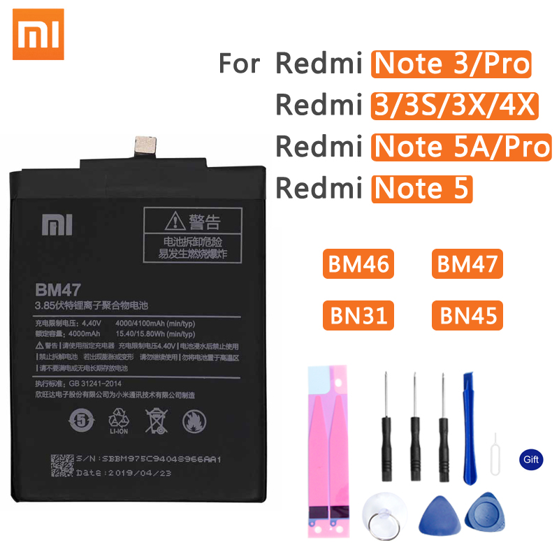 Xiao Mi Original Phone Battery BM47 For Xiaomi Redmi 3 3S 3X 4X 3 Pro Note 3 5 5A Pro Mi 5X BM46 BN31 BN45 Replacement Batteries(China)