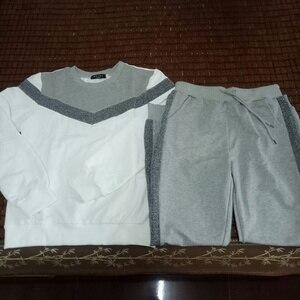 Image 3 - 女性のジャージ秋長袖プルオーバースウェットシャツ 2 点セットファッションタイプ v ステッチスポーツスーツ女性