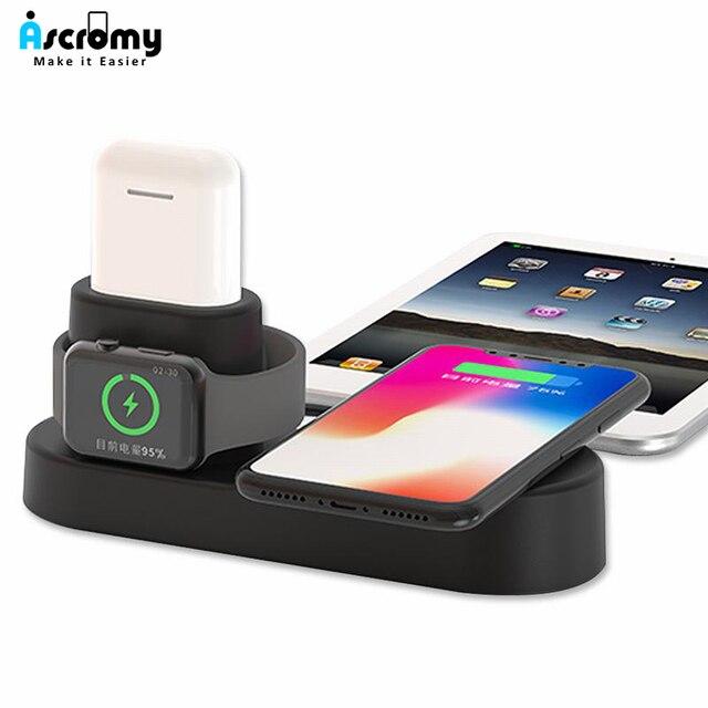Ascromy 4 trong 1 Sạc Không Dây Đứng Dock Đối Với iPhone XS Max XR X Samsung S9 Của Apple Xem Airpods Máy Tính Bảng qi Nhanh Chóng Sạc Trạm