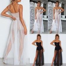 Сексуальное женское Бохо перспективное кружевное прозрачное облегающее платье в горошек с высокой талией длинное пляжное платье