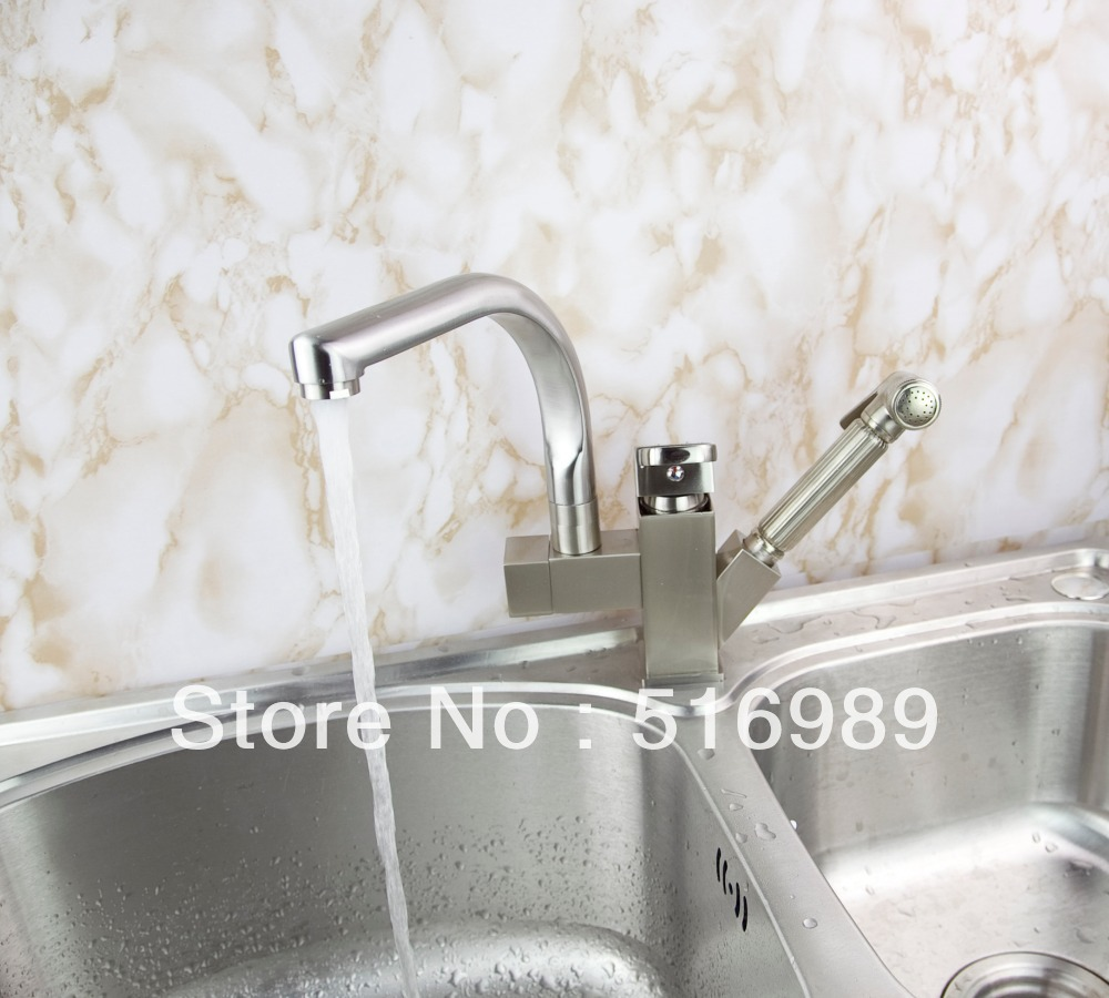Deck Mount Spring Kitchen Faucet Swivel Spout Single Handle Pull out Spray Sink Mixer Tap mak74 good quality wholesale and retail chrome finished pull out spring kitchen faucet swivel spout vessel sink mixer tap lk 9907