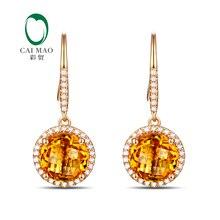 Caimao ювелирные изделия 14KT желтого золота 8 мм круглый разрез 3.32ct цитрин& 0.30ct Алмазные обручальные серьги