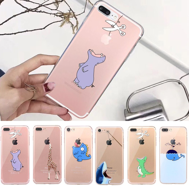 Lovely Print Case For Coque iphone 7 8 Plus 6s 6 5se 5s 5 Silicone Transparent