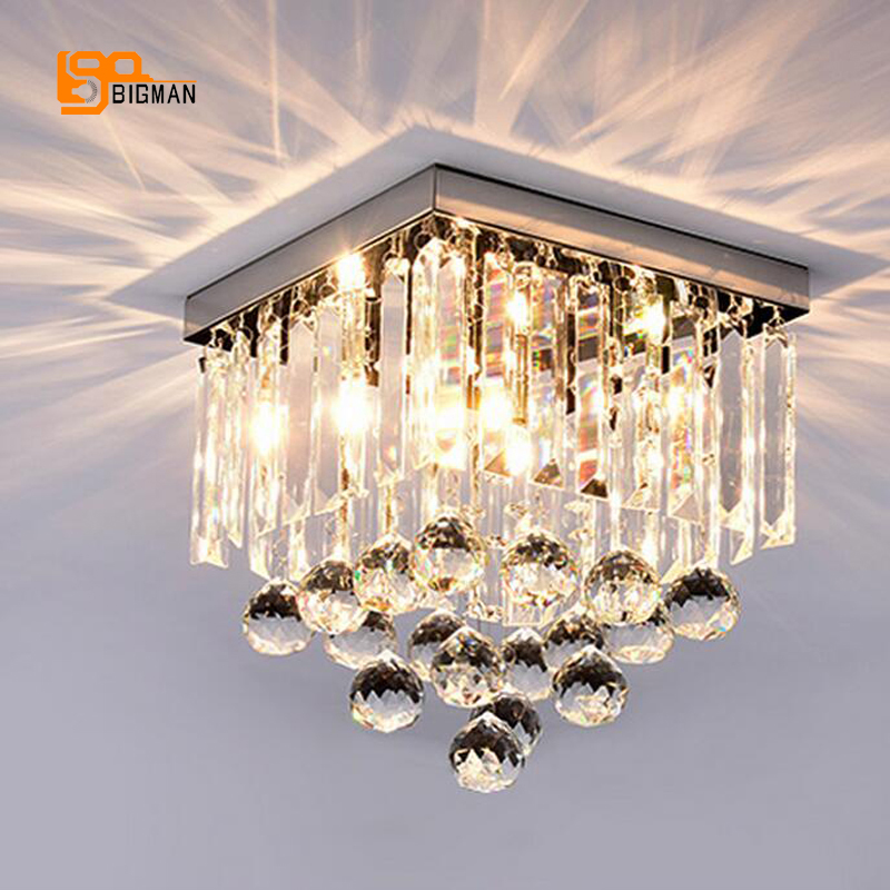 new design crystal ceiling lamp LED lighting fixtures square living room lamp hallway lights free shipping japanese indoor lighting led ceiling light lamp square 45 55cm tatami decor led lamp wood paper restaurant living room hallway