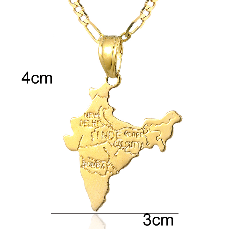 Ethlyn Gold Color Indian Map pendant necklace for women men