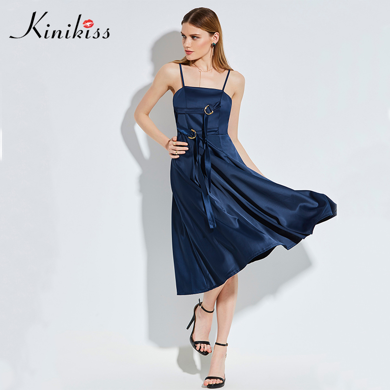 Kinikiss Noble Blue Satin Dress Women Elegant Party Spaghetti Strap Buckle Dresses Sexy Feminine Celebrity High Qualities Dress
