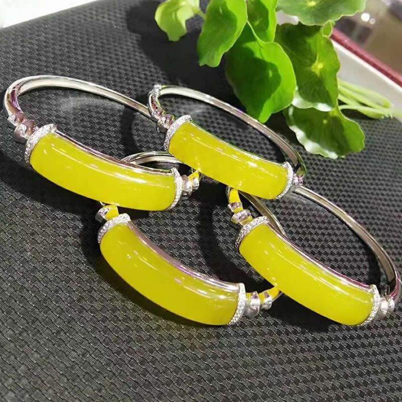1pcs Natural Yellow Jadeite Silver Bangle Women Bangle selling jewelry xinjiang hetian jadeite jadeite overlord pendant natural jadeite men 18 arhat necklace pendant