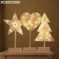 HUANJUNSHI Napęd Baterii LED Night Light Star Choinka Serce Lampa Stołowa Nightlight Doprowadziły Noc Drążą Toaleta Światło