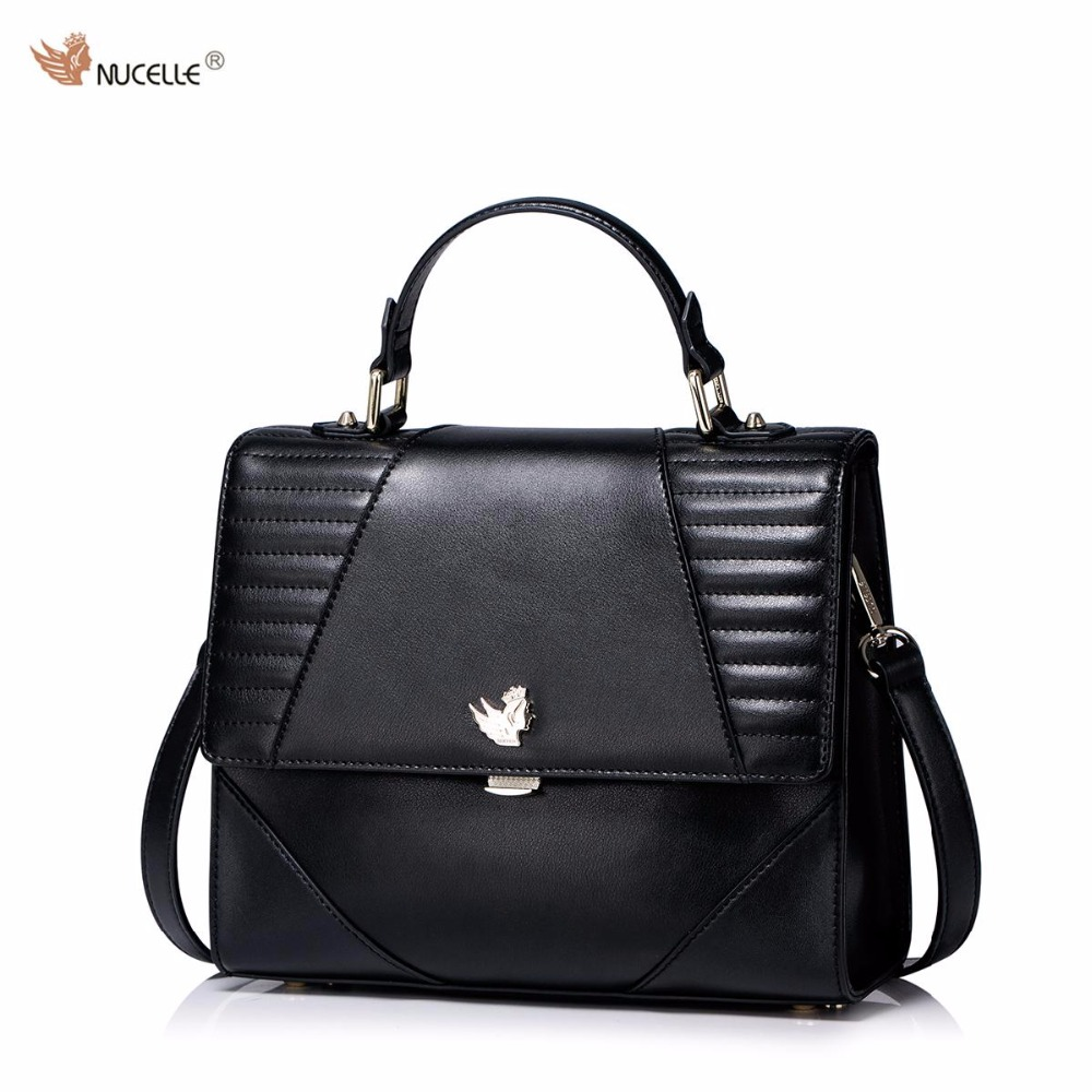 NUCELLE Brand New Design Fashion French Style Threads Lock Cow Leather Women Lady Handbag Shoulder Crossbody Flap Bags