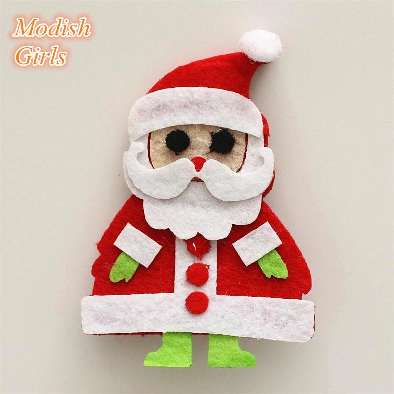 Noel Christmas Carolers Decoration Felt Clothes Big By: 2015 Christmas Santa Claus Design Kids Girls Hair Clip