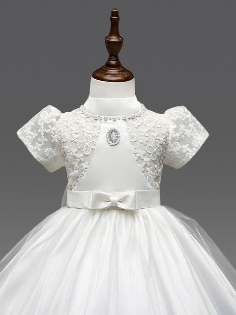 eb5d2e1605 2017 brand new Korean girls dress embroidered puff sleeve bow Flower Girl  Dress free shipping C0186