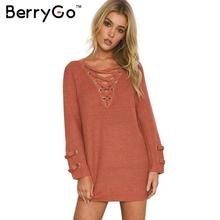 BerryGo Lace up knitted winter sweater women Loose long sleeve white pullover Casual winter outwear 2016 Elastic waist knitwear