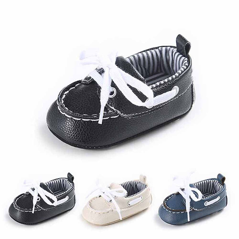 Newborn Baby Boy Girl First Walkers Gray Shoes PU Leather Soft Infant Toddler Prewalker 0-18M