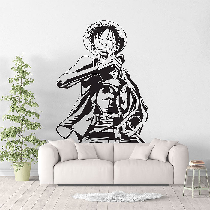 Monkey D. Luffy Anime One Piece Wall Sticker Art Deco, Sea Fan Bedroom Decorate Wall Sticker, Home Living Room Decor  HZW01-in Wall Stickers from Home & Garden