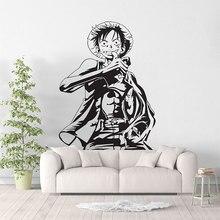 Monkey D. Luffy anime uma peça adesivo de parede arte deco, ventilador do mar quarto decorar adesivo de parede, decoração da sala estar em casa hzw01