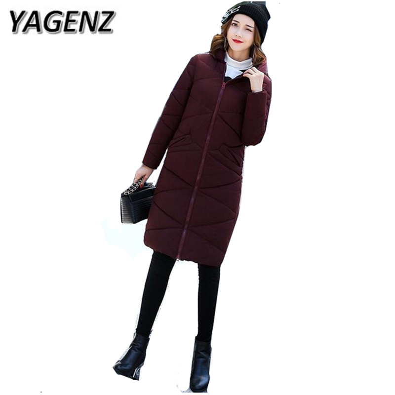 YAGENZ Fashion Women Parkas Winter Hooded Jacket Slim Down Cotton Long Coats Solid Warm Female Jacket Winter Plus size 4XL 5XL winter women parkas solid color mid long section large size thicken down cotton jackets fashion hooded slim cotton coats ly0254