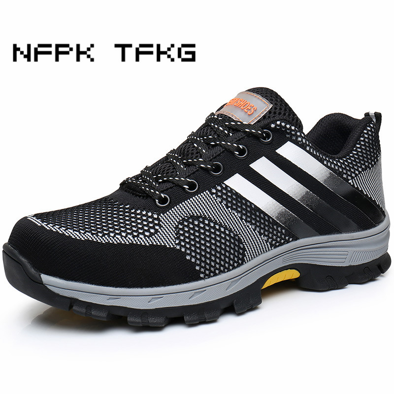 mens big size comfort steel toe cap working safety summer shoes outdoors platform anti puncture tooling