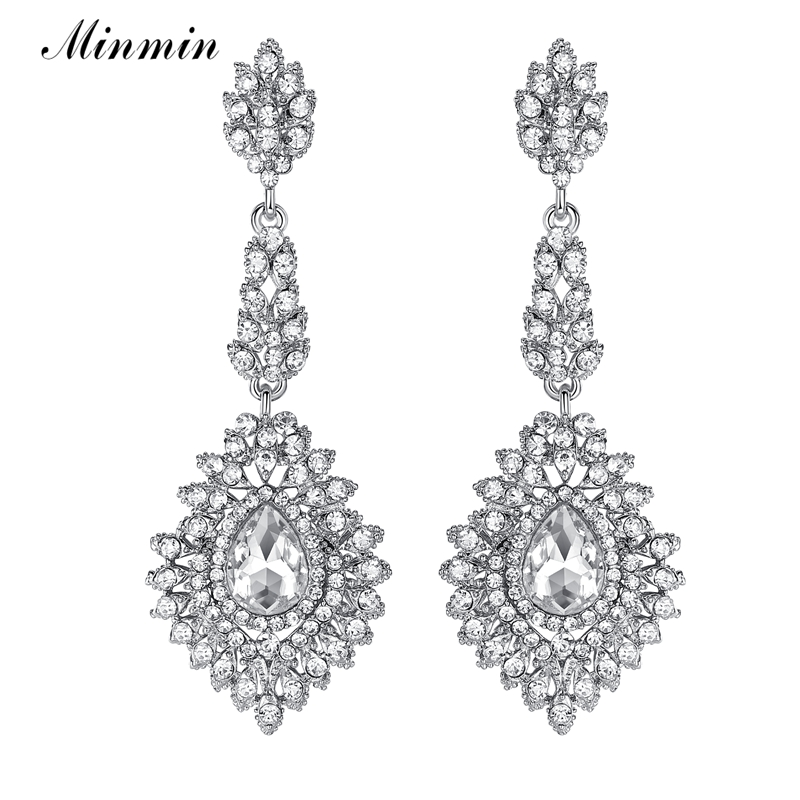 Minmin Luxury Teardrop Kristal Panjang Drop Earrings Warna Silver Chandelier Menggantung Anting-Anting Perhiasan Pengantin ...