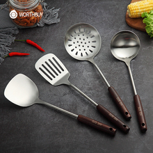 Set Utensils-Set Kitchenware Turner Spatula Ladle Wooden-Handle Cooking-Tools Soup 304-Stainless-Steel