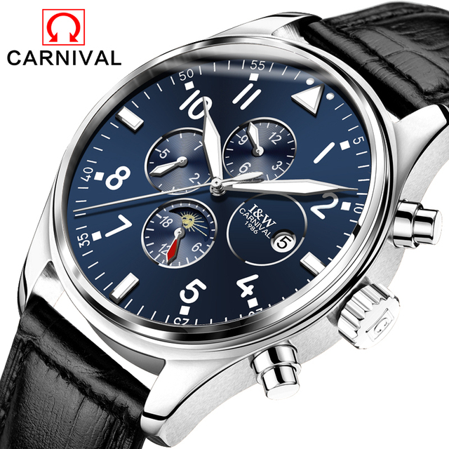 Carnival  Sapphire Automatic Mechanical Watch Men Stainless steel waterproof  black  leather Watch relogio masculine