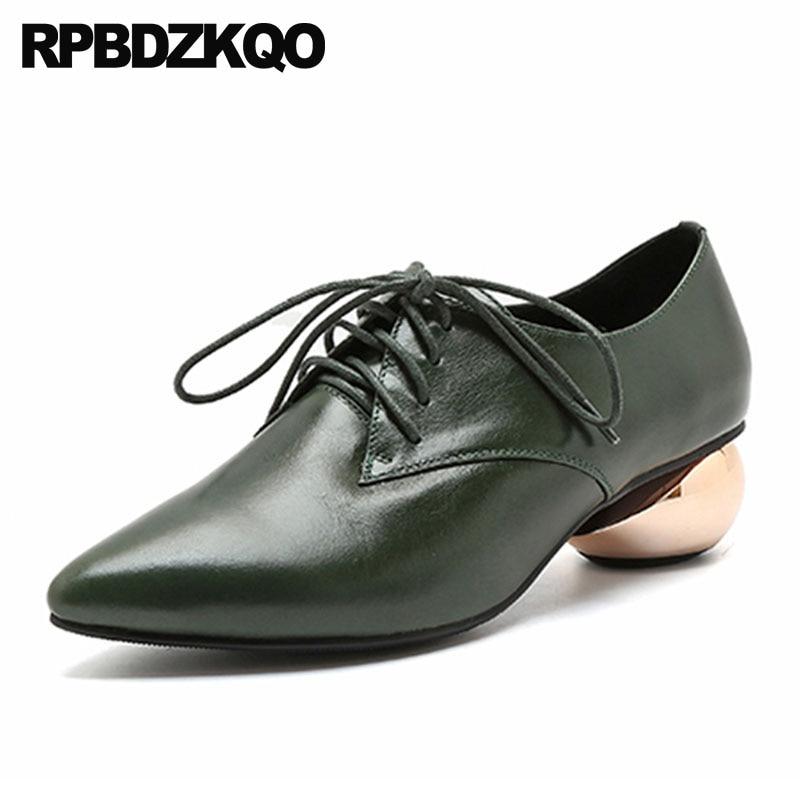 Véritable Luxe Lacent Noir Cuir Chaussures Femmes Taille Métal À Pointu Oxford Vert vert 2018 Bout 4 La Talons Main Moyen 34 De Chunky Célèbre En 5axqnXgwpT