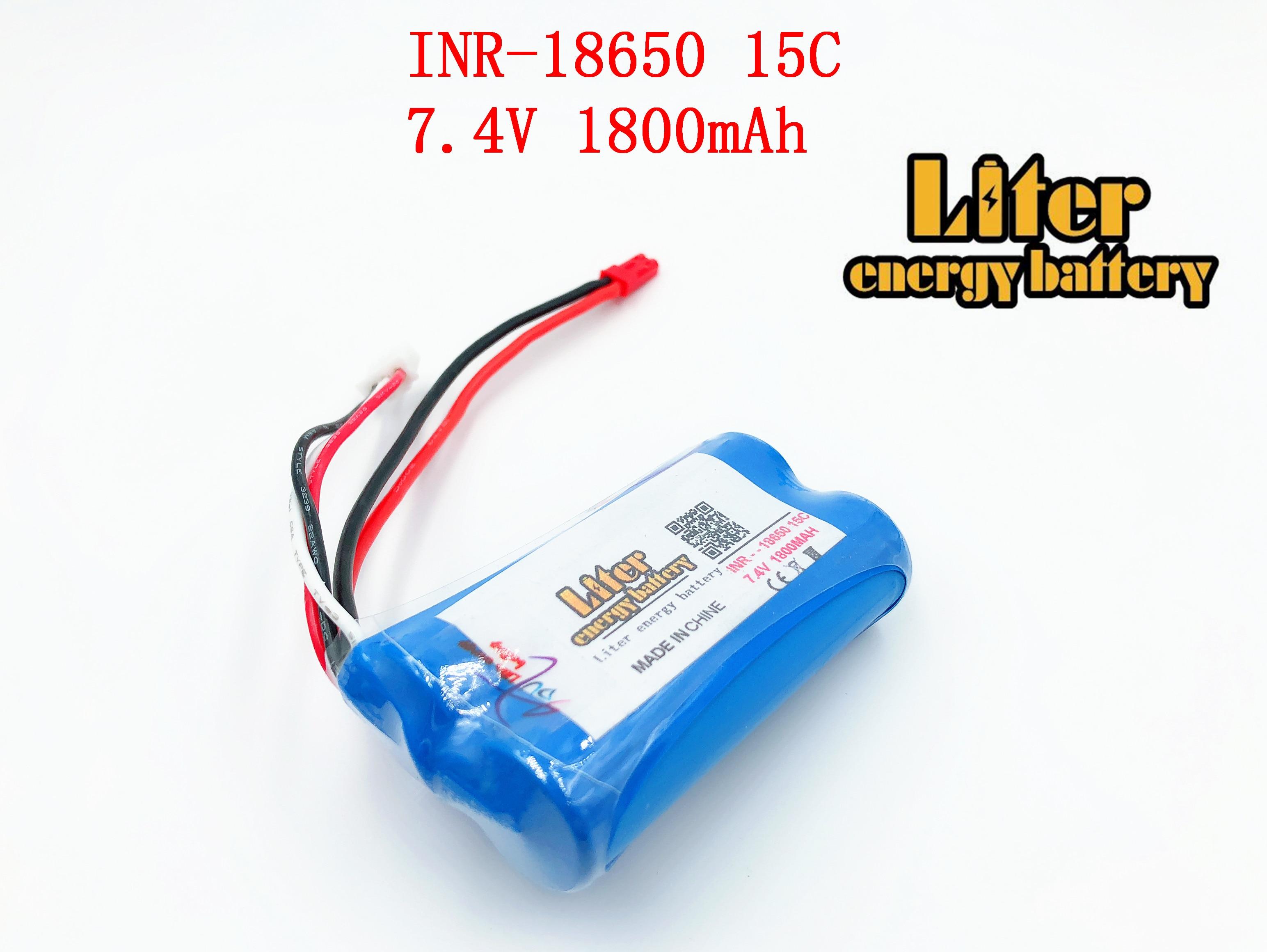 7.4 V 18650 li-lon batteria ricaricabile 1800 mAh batterie aeromodelli grande corrente di scarica 15C