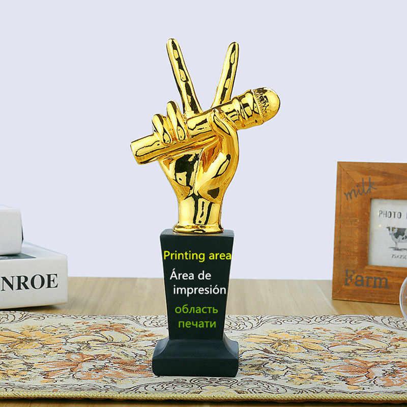 Золотой Музыкальная награда микрофон чашки пение конкурс сувенир декоративные фигурки настраиваемые украшения дома интимные аксессуары