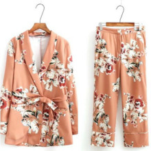 Fashion printed temperament small suit jacket slim trousers trend wild ladies