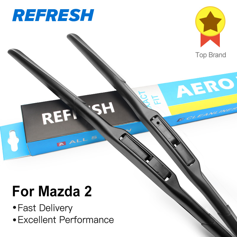 REFRESH Wiper Blades for <font><b>Mazda</b></font> 2 Demio Fit Hook Arms 2003 2004 2005 <font><b>2006</b></font> 2007 2008 2009 2010 2011 2012 2013 2014 2015 2016 2017 image