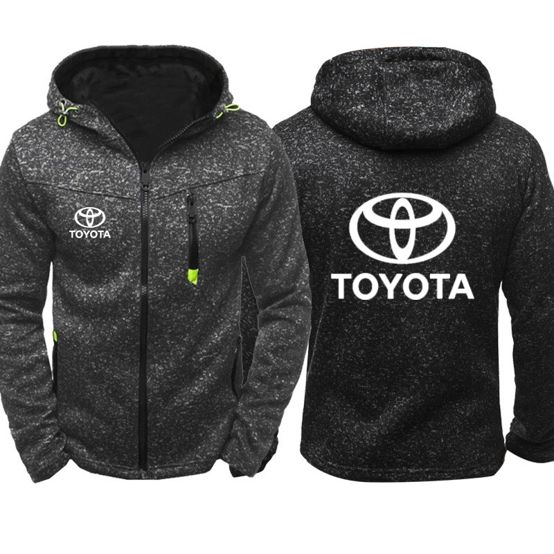 Hoodies Men Toyota Car Logo Print Casual Hip Hop Harajuku Long Sleeve Hooded Sweatshirts Mens Zipper Jacket Man Hoody Clothing