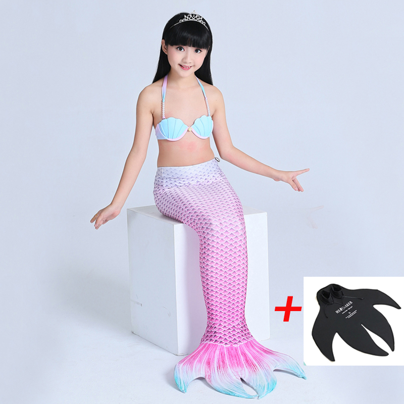 2PCS 2018 New Mermaid Tail Costume With Monofin For Kids Girls Swimming Cosplay Swimmable Mermaid Tail Dress Swimming Costumes 2 piece girl s mermaid tails for swimming costume with monofin for kids girl swimmable mermaid tail dress w fin cosplay 2017 new