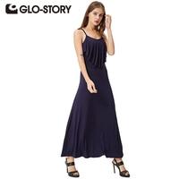 GLO STORY 2017 Summer Women Maxi Long Dress Sleeveless Boho Dress Holiday Slip Beach Sexy Dress