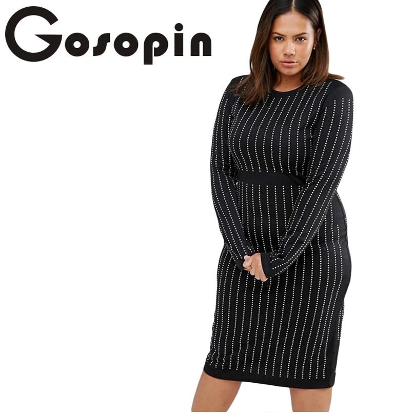 Gosopin Hot Plus Size Sexy Ladies Black Big Girls Rhinestone Stripes Long Sleeve Dress 2017 Fashion Vestidos De Fest LC61388