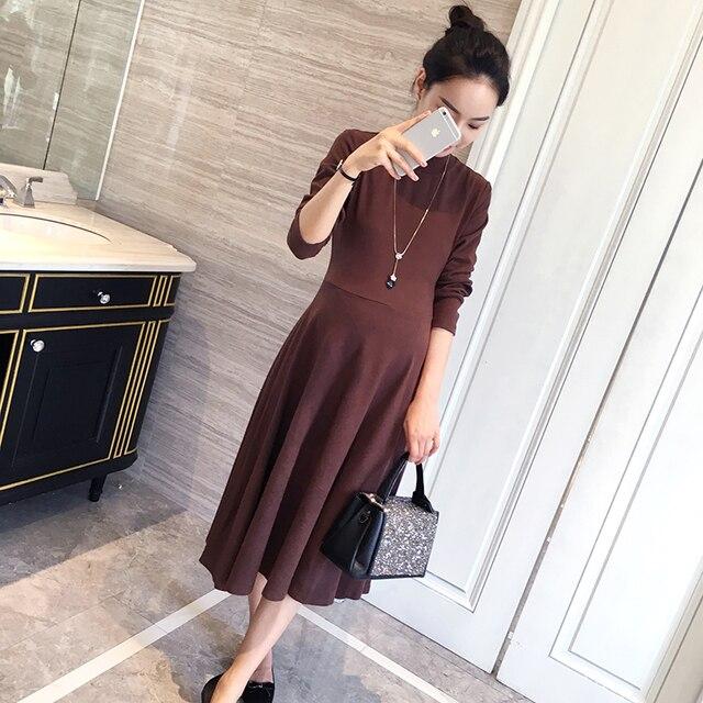 0099 # осень 2017 г. корейской моды Средства ухода за кожей для будущих мам длинное платье Slim большой нижней одежды для беременных Для женщин хлопок Беременность Костюмы