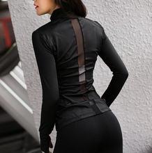 Женская куртка для йоги бега из полиэстера с длинным рукавом