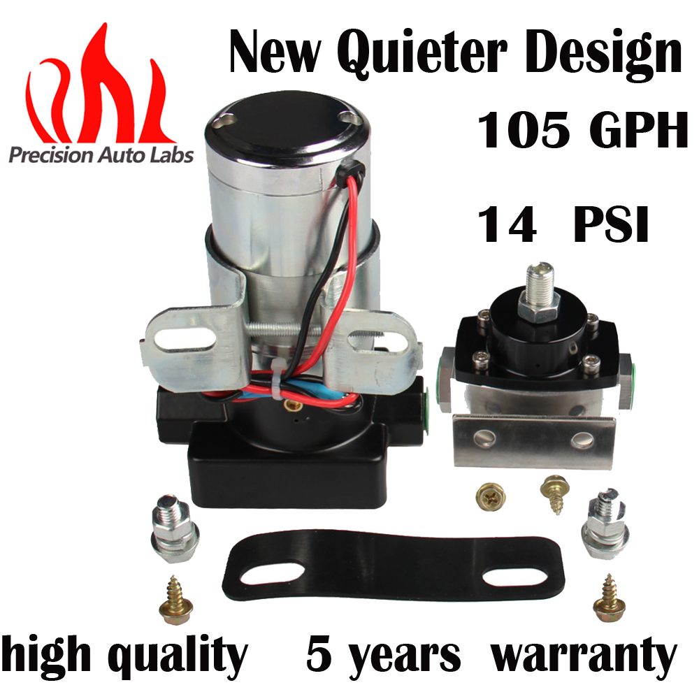 105GPH  14 psi  Universal  Electric  Fuel Pump and Regulator Kits , External, Gas, Kit .14 psi., 3/8 in  NPT Inlet and Outlet