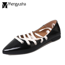 bede63bdf66 sexy cross-tied flat shoes woman japanned leather ballet flats pointed toe  lace up mules