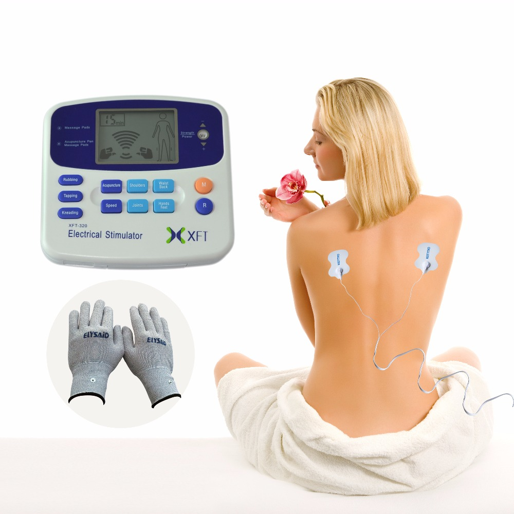 Digital XFT TENS Massager Physiotherapy Pains Relax Smoothing Electrical Stimulator+ 1 Pair Conductive Electrotherapy Gloves eric g flamholtz growing pains