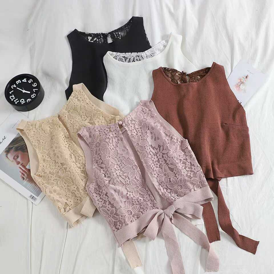 2019 Summer Back Hollow Sexy Lace Tops Bowknot T-Shirts Casual Loose Free Size Women Sleeveless Tops
