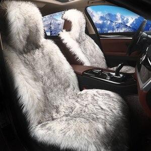 Image 2 - 1 قطعة الشتاء مقعد السيارة يغطي طويل الصوف أفخم ساخنة الفراء الجلود لينة مقاعد السيارات وسادة مجموعة للسيارات التصميم الداخلية اكسسوارات
