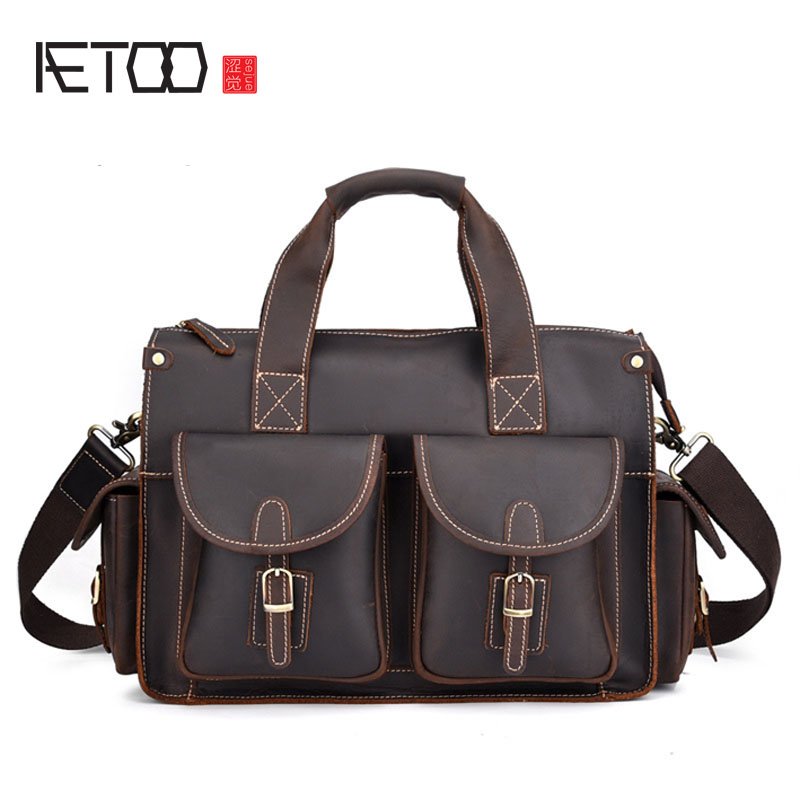 AETOO Crazy horse leather one shoulder slung bag difference package new crazy mens briefcase retro laptop