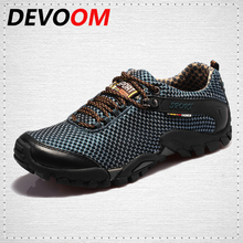 DEVOOM Breathable Mens Casual Shoes Fashion hinking Shoes Air Mesh Lightweight Outdoor beach Shoe Male Walking Footwear Sapatos