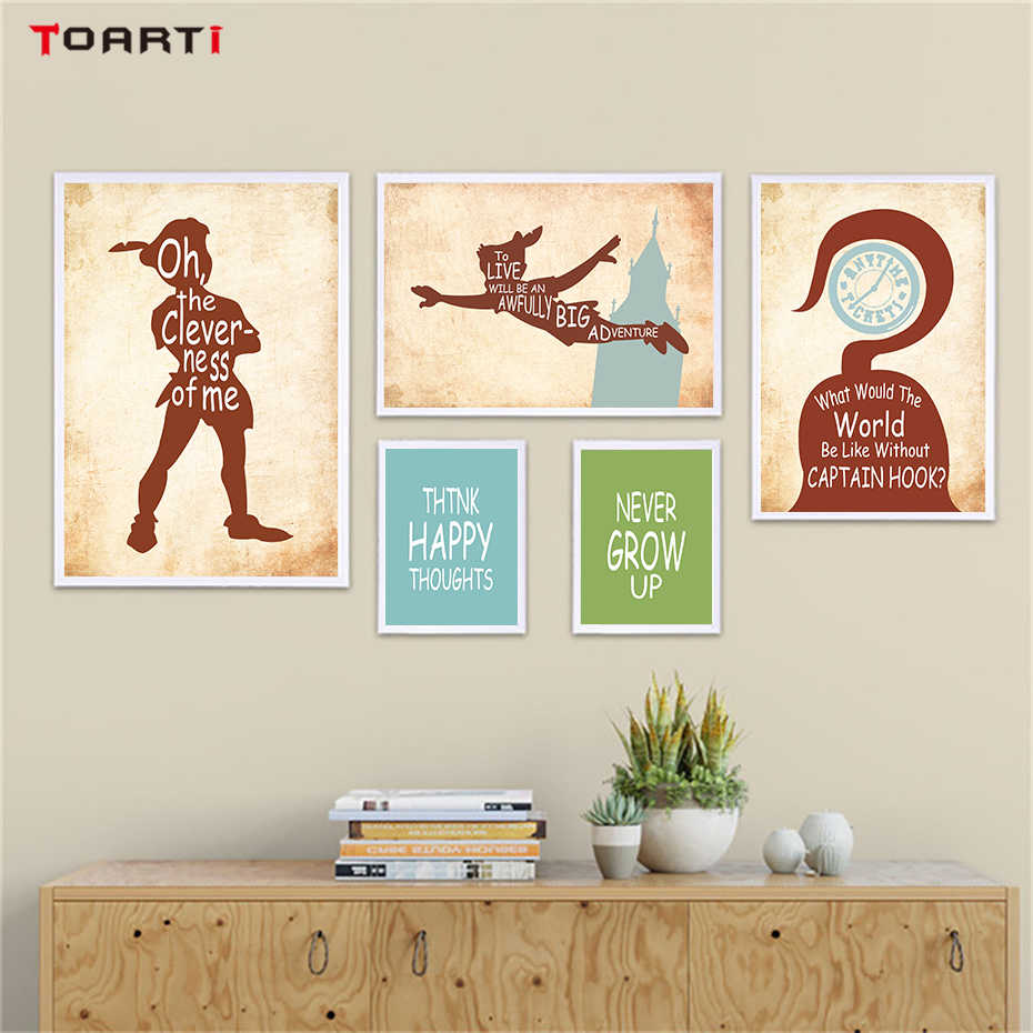 60efee0a5301 Peter Pan Theme Quotes Wall Art Canvas Painting Nordic Silhouette Drawing  Vintage Posters&Prints Kids Bedroom Decoration