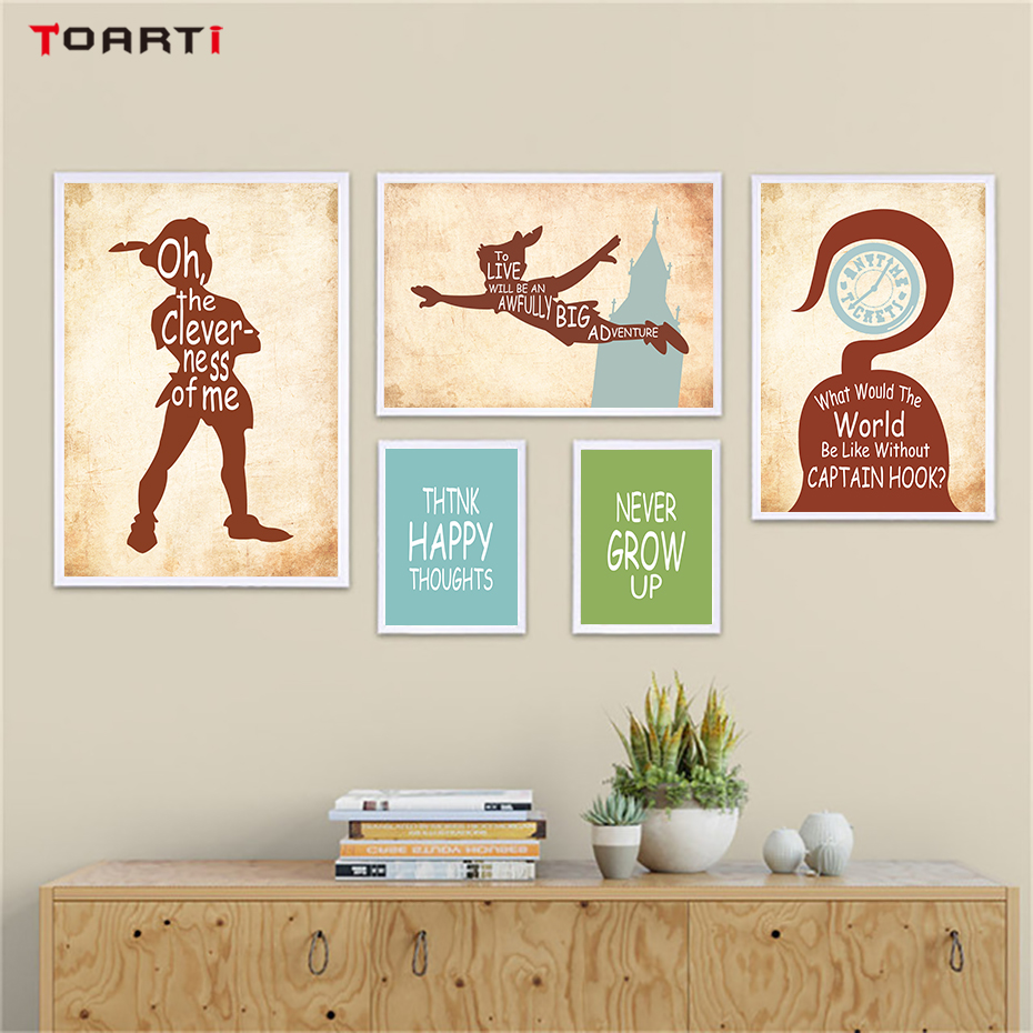 Peter Pan Theme Quotes Wall Art Canvas Painting Nordic Silhouette Drawing Vintage Posters&Prints Kids Bedroom Decoration Picture