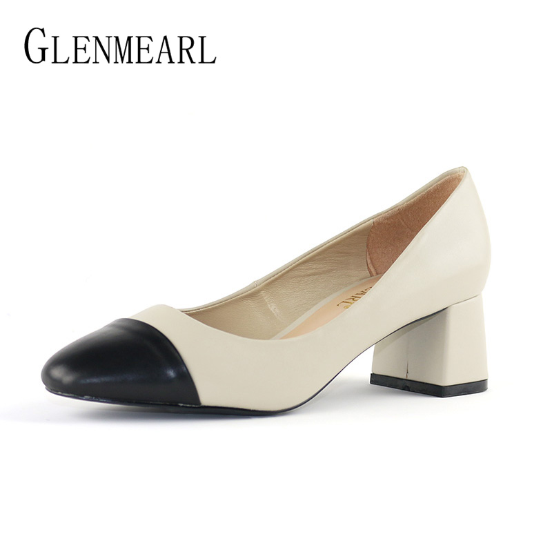 Genuine Leather Women Shoes High Heels Pumps Brand Spring Thick Heel Dress Shoes Office Lady Color Mix Round Toe  Party Shoes DO bacia women shoes black patent leather ladies high heels shoes with bowknot thick heel pumps genuine leather lady shoes sb075