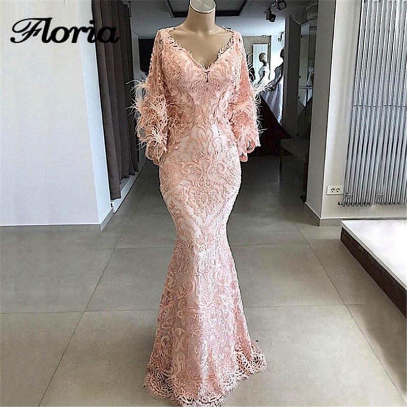 Date arabe rose sirène robes de soirée 2018 turc musulman formelle Robe de bal africain à manches longues robes de soirée Robe de soirée
