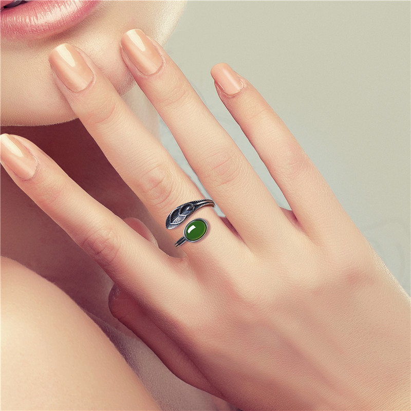 Natural Hotan Retro S925 Silver Egg Face Female Ring Exquisite Opening Ring