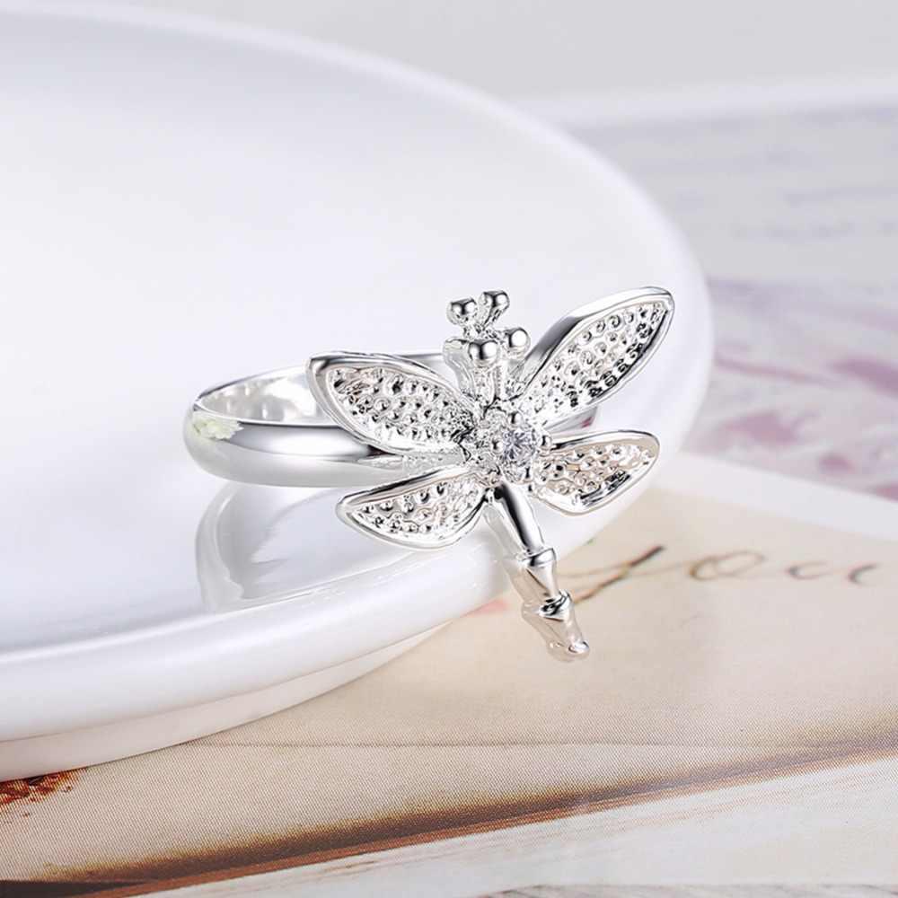 Классический с серебряным покрытием кубического циркония кольцо со стрекозой женские ювелирные изделия Романтический милый аниме Wanita Cantik Bijoux друг подарок Huarache