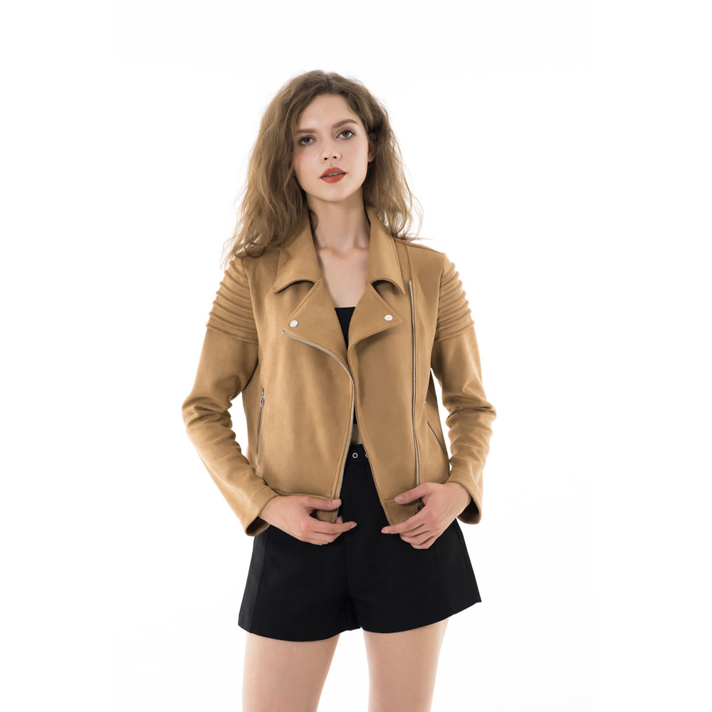 Faux Suede Leather Winter Short   Jacket   Feminina Slim   Basic     Jackets   Women Ruffle Long Sleeve Short Coat Motorcycle Outerwear 2018