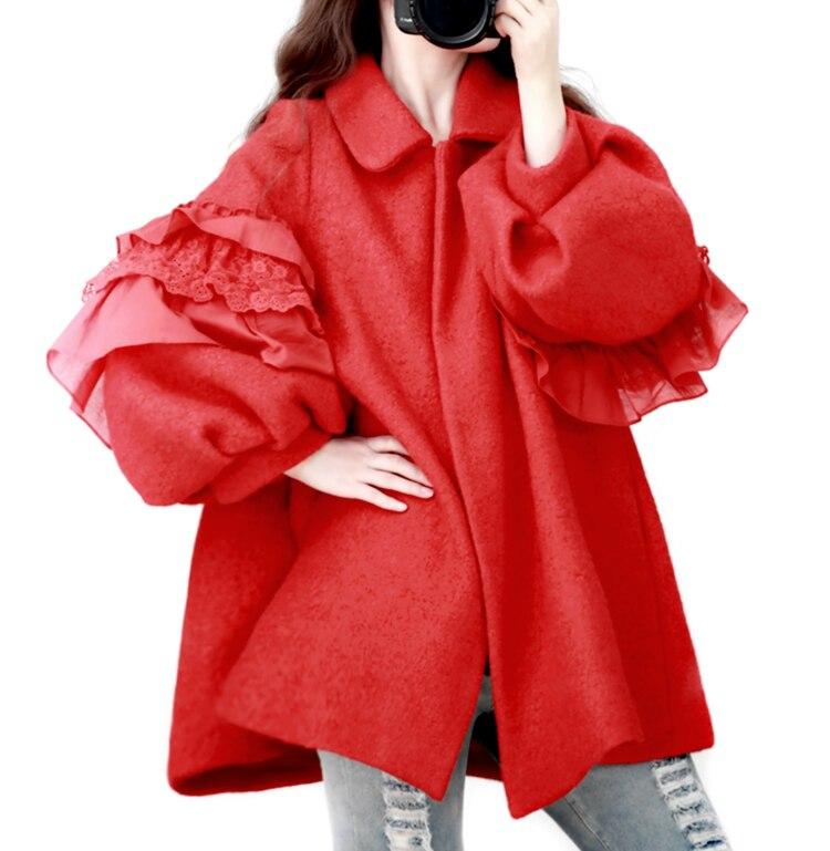 Volants Cape Veste Japon Manches Princesse Style Vêtements D'hiver Mori Femmes De Fille Poupée Laine Lanterne Dentelle Mignon Manteau Casual Ax14q